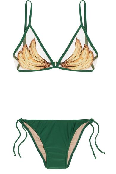 Adriana Degreas Bedruckter Triangel-Bikini mit Mesh-Einsatz