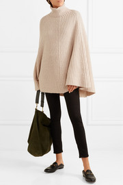 Charlotte ribbed wool and cashmere-blend turtleneck poncho
