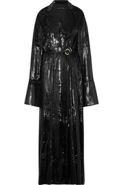 Coated-velvet wrap maxi dress