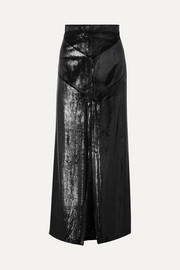Coated-velvet maxi skirt
