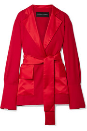 Satin-trimmed wool wrap blazer