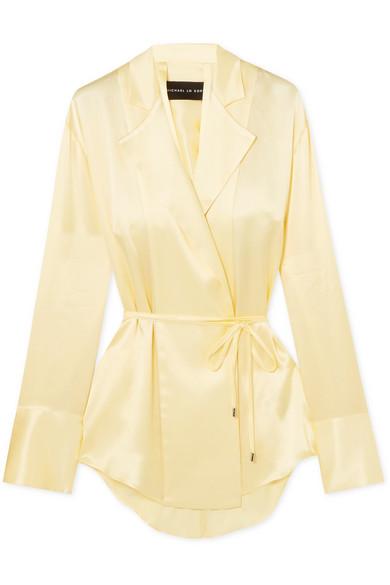 Michael Lo Sordo - Open-back Silk-satin Wrap Blouse - Pastel yellow