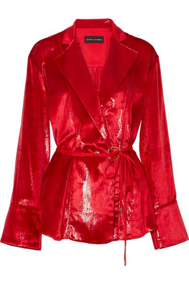Michael Lo Sordo - Coated-velvet Wrap Blouse - Red