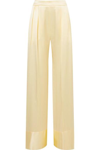 Michael Lo Sordo - Silk-satin Wide-leg Pants - Pastel yellow