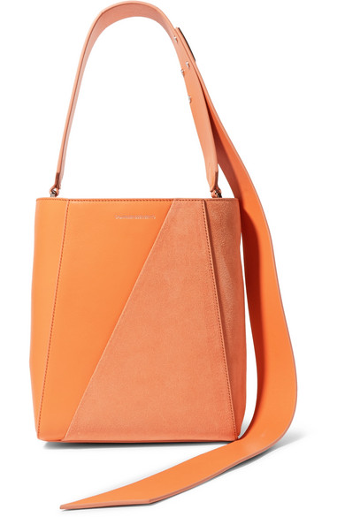ccf37b7ab9 CALVIN KLEIN 205W39NYC   Buck Stripe small leather and suede shoulder bag    NET-A-PORTER.COM