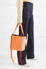 Buck Stripe small leather and suede shoulder bag