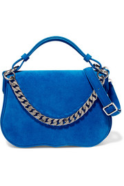Chain-trimmed suede shoulder bag