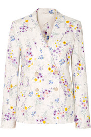 Double-breasted floral-print linen blazer