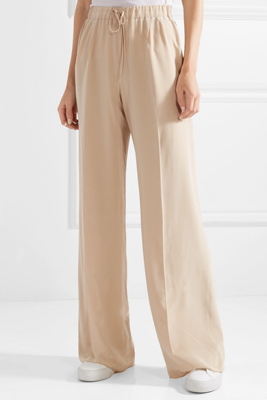 Max Mara Tremiti Pants With Wide Leg From Crêpe De Chine Silk From