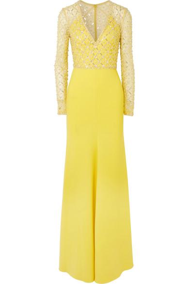 Jenny Packham - Embellished Crepe Gown - Yellow