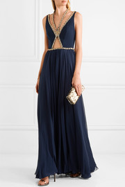 Embellished crepe and silk gown