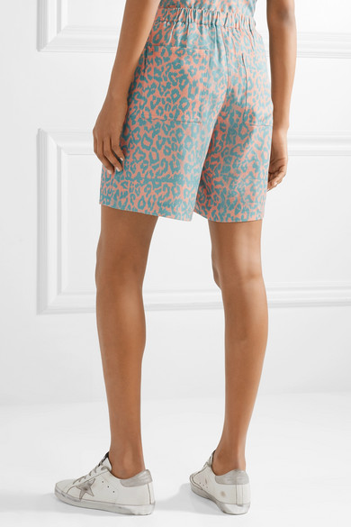 Double Rainbouu Shorts aus Popeline mit Leopardenprint