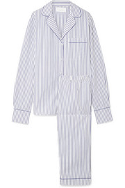 Moss striped cotton-poplin pajama set