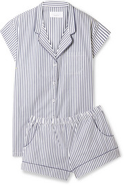 Olivia striped cotton-poplin pajama set