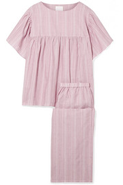 Kelly embroidered striped cotton-voile pajama set