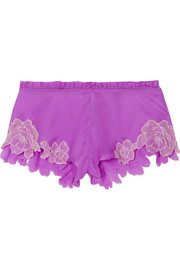Flottant lace-trimmed silk-satin shorts