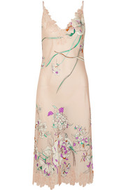 Chantilly lace-paneled printed silk-satin chemise