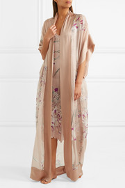 Printed silk-georgette and silk-satin maxi kimono