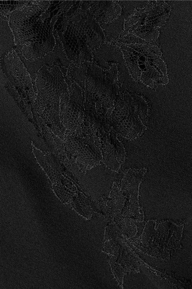 Carine Gilson Moussalza Top aus Seiden-Georgette mit Besatz aus Chantilly-Spitze