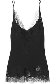 Moussalza lace-trimmed silk-georgette camisole