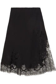 Moussalza lace-trimmed silk-georgette skirt