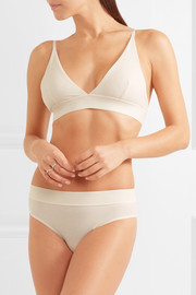 Set of two ribbed stretch-organic cotton soft-cup bras