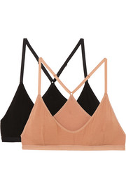 Set of two stretch-bamboo soft-cup triangle bras