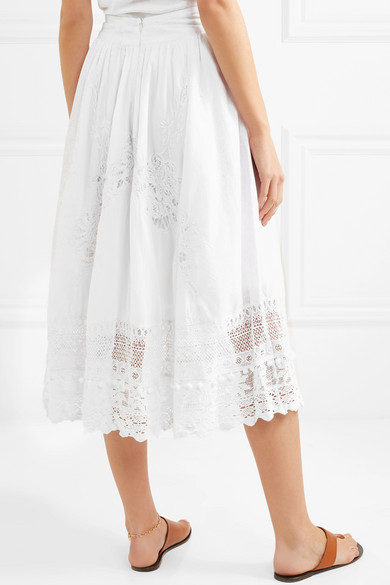 Place National Baleine Embroidered Skirt Made Of Cotton And Lace Crochet
