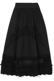 Baleine embroidered crocheted lace and cotton skirt