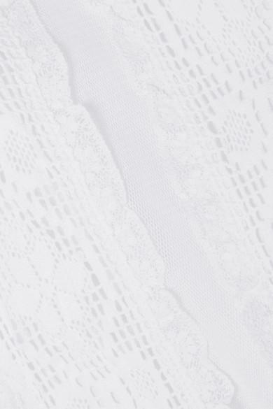 Place Nationale Bouyon besticktes Maxikleid aus Baumwoll-Voile mit Mesh-Besätzen