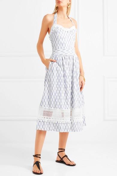 Place Nationale Marseille Neckholder-Kleid aus gehäkelter Spitze und Baumwolle mit Ikat-Muster