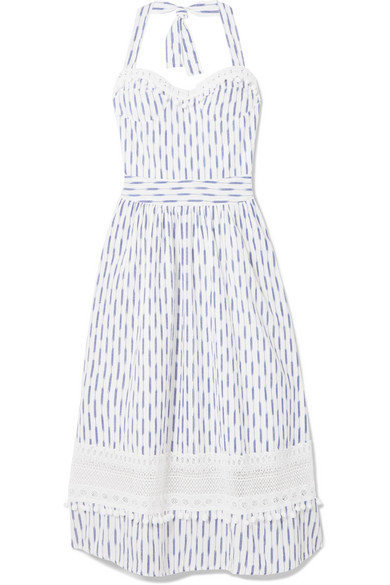 PLACE NATIONALE Marseille Crochet-Lace And Ikat-Cotton Halterneck Dress in White
