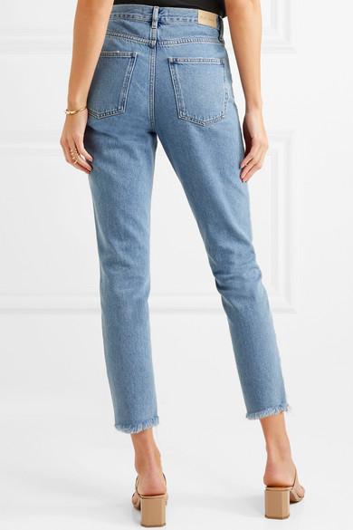 M.i.h Jeans Mimi hoch sitzende Jeans mit schmalem Bein und Fransen