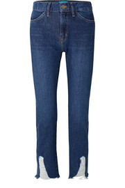 Cult distressed mid-rise straight-leg jeans