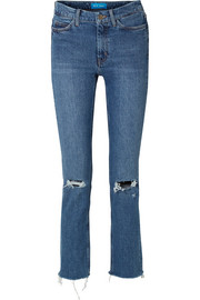 M.i.h Jeans Daily frayed high-rise straight-leg jeans