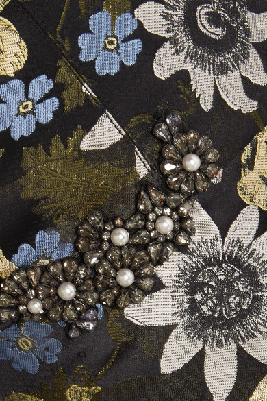 Erdem Cecelia schulterfreie Robe aus floralem Jacquard