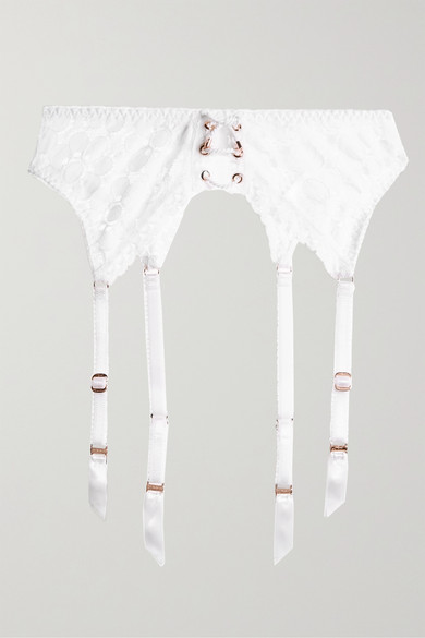 Daizy Floral-Lace Suspender Belt in White