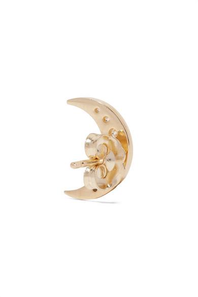 Andrea Fohrman Mini Crescent 18-karat Gold Diamond Earring 5GXsAzwEt