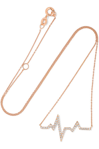 18-karat Rose Gold, Velvet And Diamond Choker - one size Diane Kordas