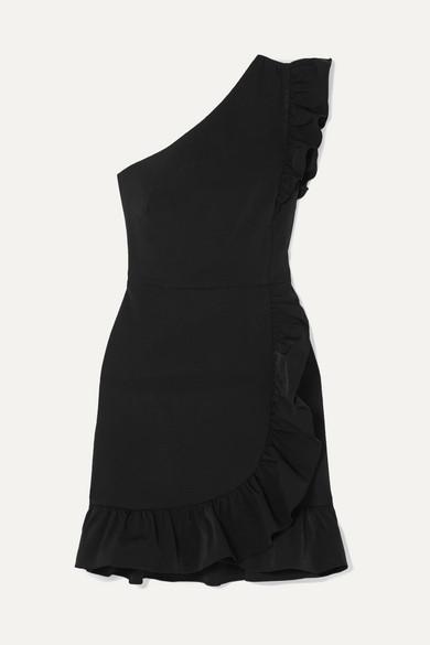 J.Crew Yass Minikleid aus Twill mit Rüschen und asymmetrischer Schulterpartie