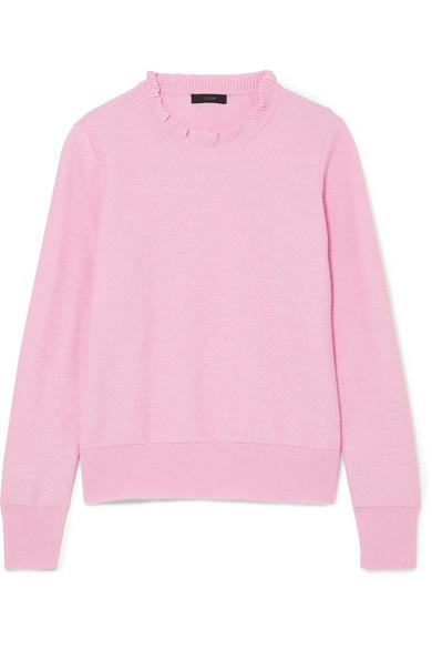 J.Crew - Ruffle-trimmed Cotton-blend Sweater - Pink