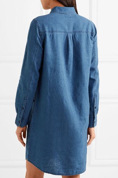 J.Crew Hemdblusenkleid in Minilänge aus Chambray aus einer Leinen-Baumwollmischung