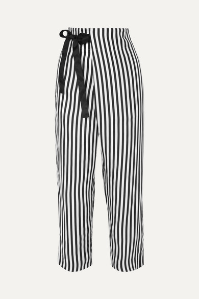 J.Crew - Okinawa Striped Wide-leg Silk-twill Wrap Pants - Black