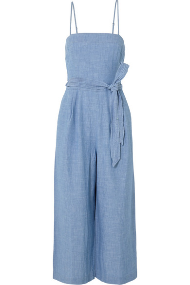 J.Crew - Marseille Belted Chambray Jumpsuit - Light blue