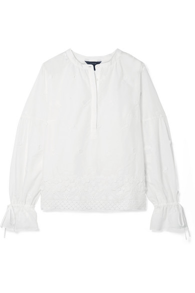 J.Crew - Falling Blossoms Crochet-trimmed Broderie Anglaise Cotton-poplin Blouse - White