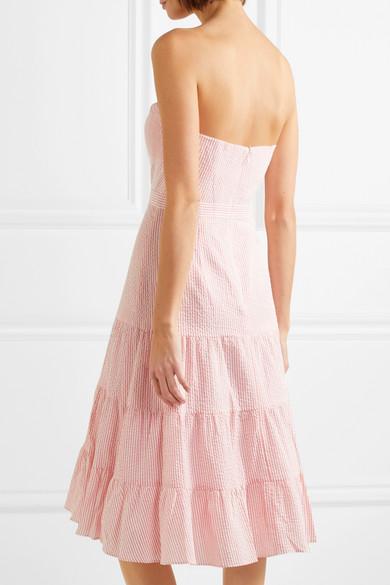 J.Crew Jackaroo trägerloses Kleid aus gestreiftem Baumwoll-Seersucker