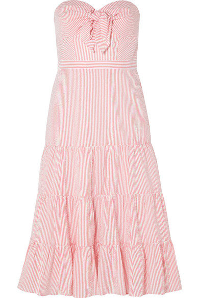 J.Crew - Jackaroo Strapless Striped Cotton-seersucker Dress - Coral
