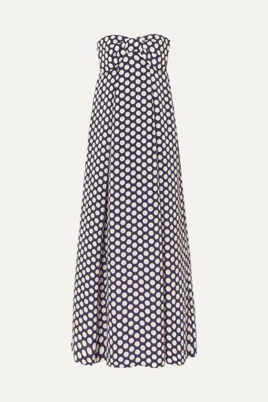 J.Crew - Bow-embellished Polka-dot Chiffon Maxi Dress - Navy