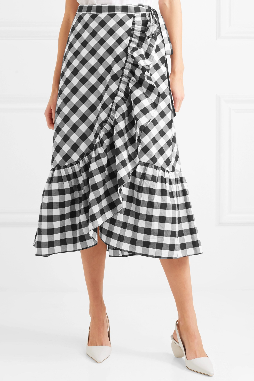 J.Crew Glo ruffled gingham cotton-poplin wrap skirt