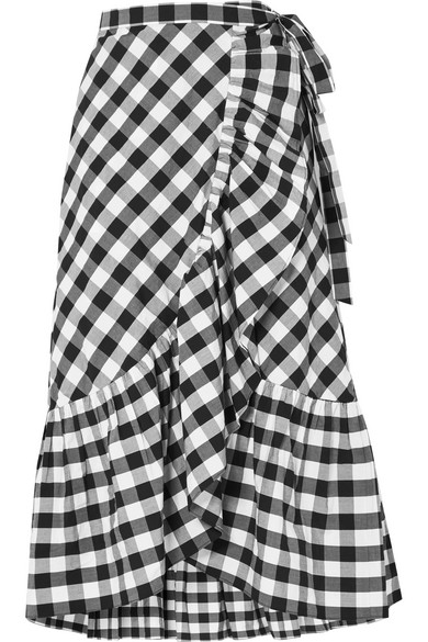 J.Crew - Glo Ruffled Gingham Cotton-poplin Wrap Skirt - Black